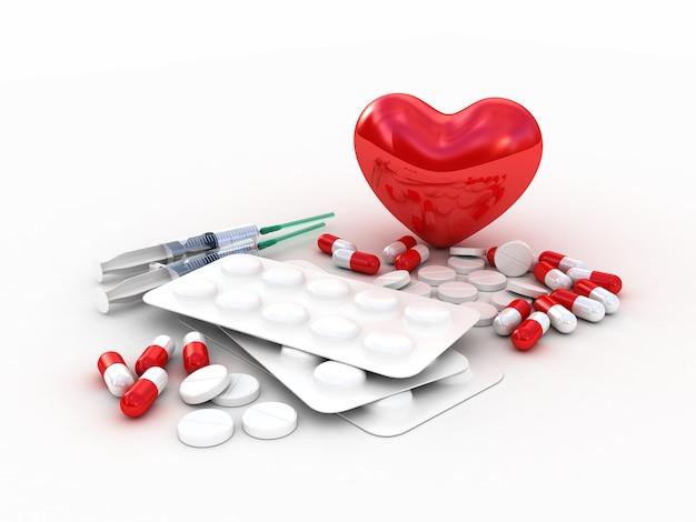 Comprimés médicaux avec coeur rouge. illustration 3d