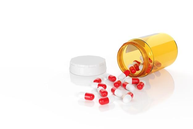 Comprimés rouges et blancs s'échappant d'un flacon de pilules isolé.