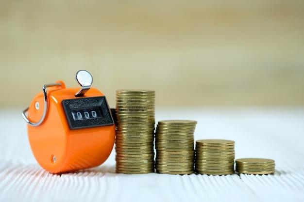 Compteur de comptage ou machine à compter et pile de pièces