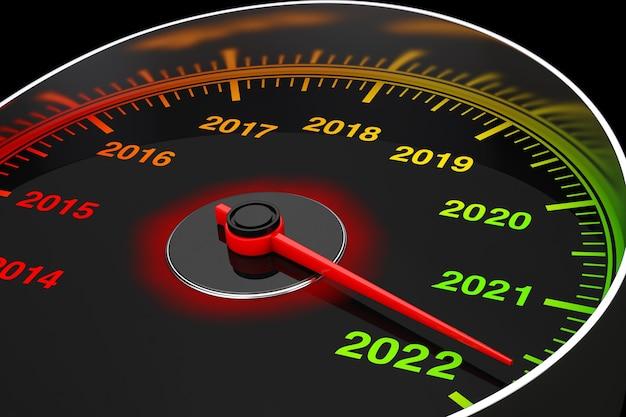 Compteur de vitesse conceptuel du nouvel an 2022 sur fond noir. rendu 3d