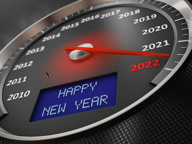 Le compteur de vitesse indique 2022 et l'inscription à l'écran : happy new year. rendu 3d