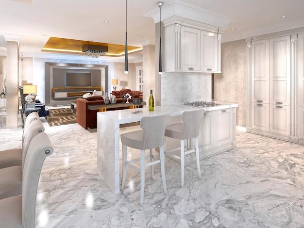 Comptoir de bar avec chaises de bar dans une cuisine luxueuse dans le style art déco en blanc. rendu 3d.