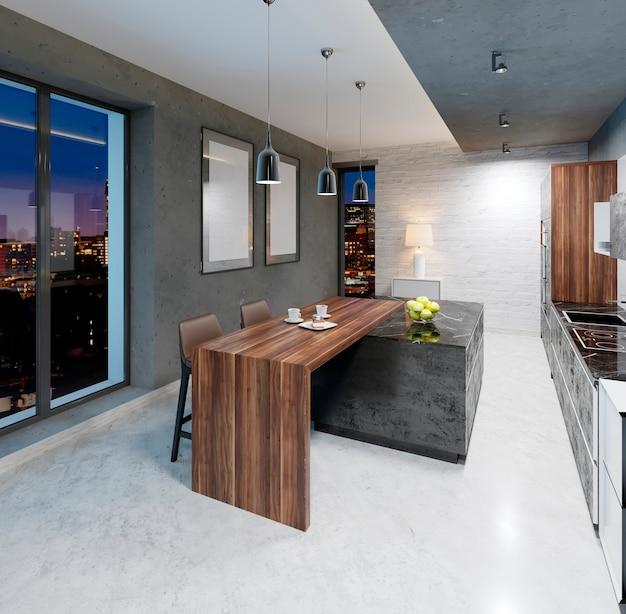 Comptoir de bar avec chaises dans la cuisine de style contemporain. rendu 3d.