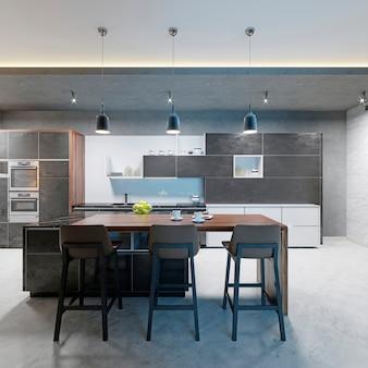 Comptoir de bar avec chaises et îlot de cuisine dans une cuisine moderne, éclairage du soir. rendu 3d.