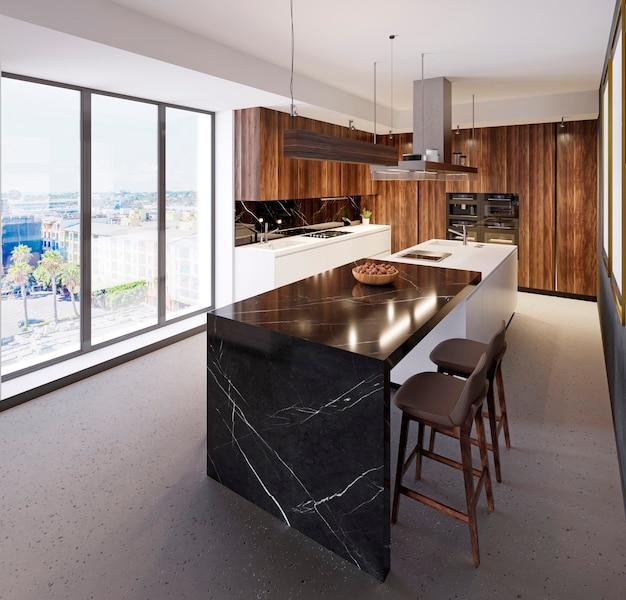 Comptoir de bar luxueux dans une cuisine moderne et une grande fenêtre panoramique. cuisine de différents matériaux, marbre, bois, plastique. rendu 3d.