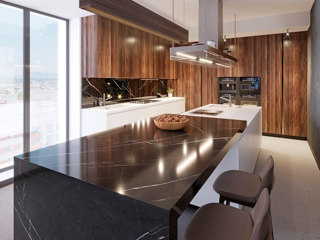 Comptoir de bar luxueux en marbre noir avec une plaque en bois avec des noix et deux tabourets de bar en cuir dans la cuisine contemporaine. rendu 3d.