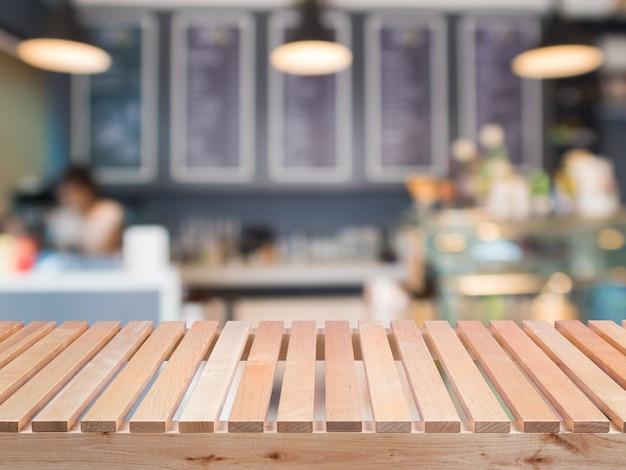 Comptoir en bois avec fond de café