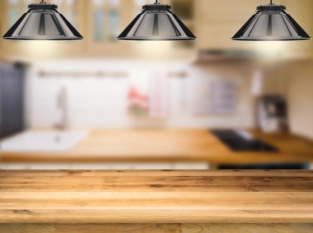 Comptoir en bois avec lampes suspendues de rendu 3d avec fond de cuisine