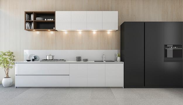 Comptoir de cuisine moderne de rendu 3d avec design blanc et noir