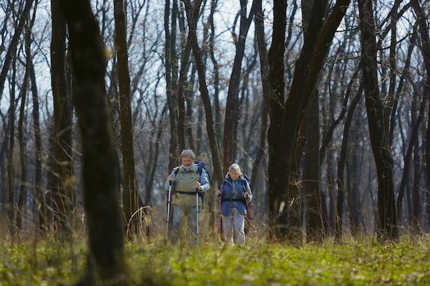 Concentré et sérieux. couple de famille âgés d'homme et femme en tenue de touriste marchant sur la pelouse verte près des arbres en journée ensoleillée. concept de tourisme, mode de vie sain, détente et convivialité.
