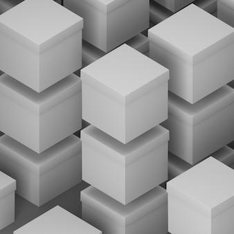 Concept abstrait de boîtes en carton cube vue haute