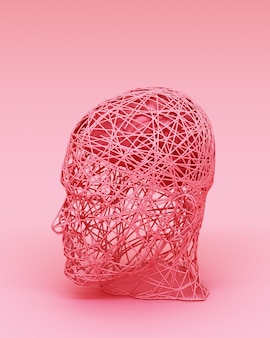 Concept abstrait coloré des hommes et son cerveau rendu 3d
