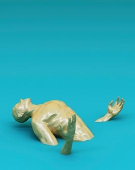 Concept abstrait coloré d'hommes sont coincés sur le sol. rendu 3d