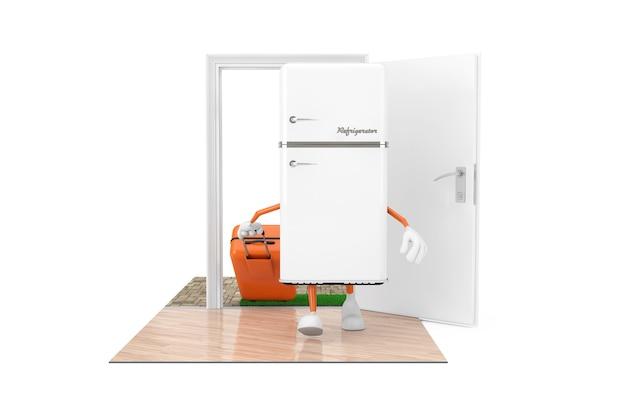 Concept d'achat d'appareils ménagers. réfrigérateur moderne blanc en tant que personnage avec une valise franchit les portes de la maison sur un fond blanc. rendu 3d