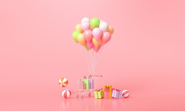 Concept d'achat en ligne. ballons et coffrets cadeaux avec panier sur rose