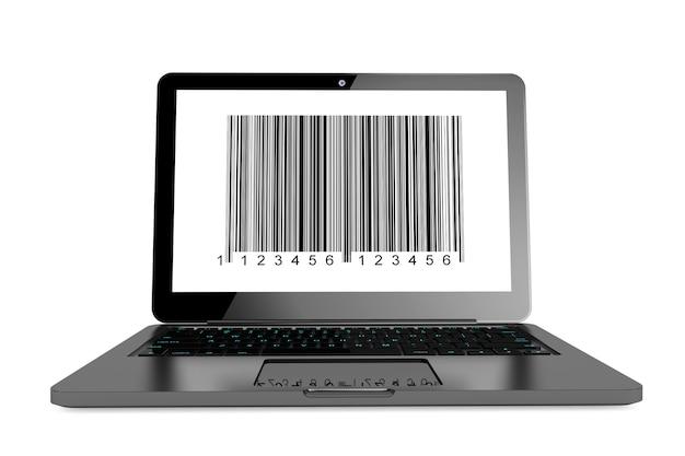 Concept d'achat en ligne. ordinateur portable moderne avec code-barres à l'écran sur fond blanc