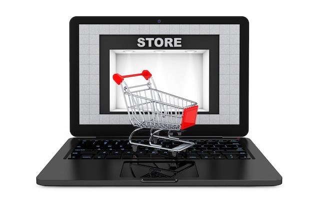 Concept d'achat en ligne. panier d'achat sur ordinateur portable avec bâtiment de magasin comme écran sur un fond blanc. rendu 3d