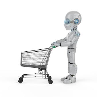 Concept d'achat en ligne avec un robot mignon de rendu 3d tenir le panier