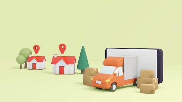 Concept d'achat et de livraison en ligne