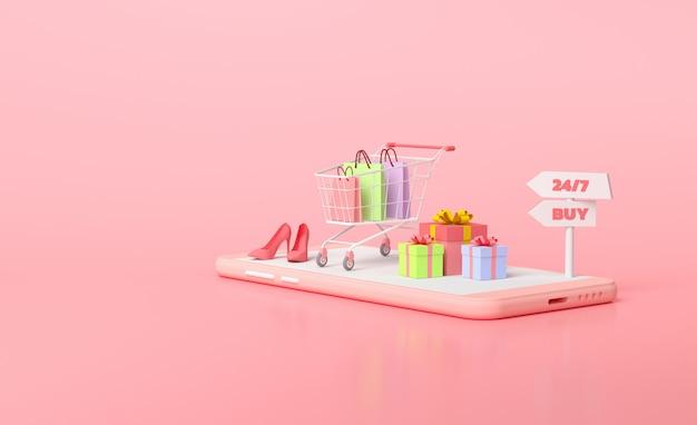 Concept d'achat mobile en ligne. cadeau et panier sur le dessus du smartphone