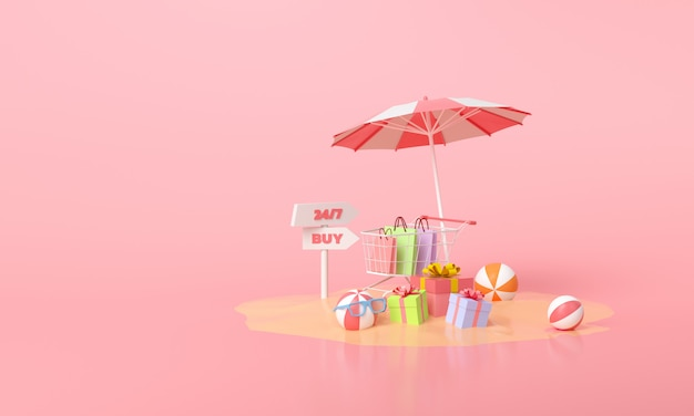 Concept d'achat mobile en ligne. cadeau de promotion de vente d'été et panier sur rose