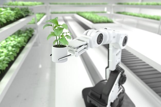 Concept d'agriculteurs robotiques intelligents agriculteurs de robots