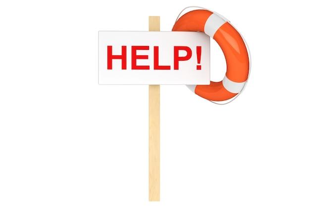 Concept d'aide. bouée de sauvetage avec signe d'aide sur fond blanc