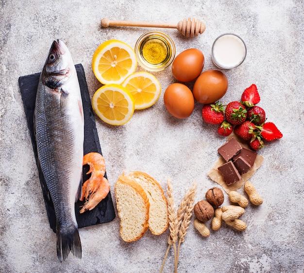 Concept alimentaire d'allergie. assortiment de produits allergiques