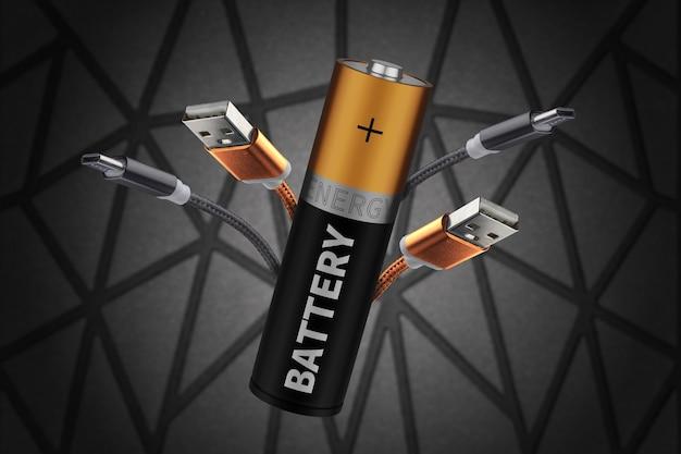 Le concept d'alimentation de gadgets, l'internet des objets. chargeur de portable. conservation de l'énergie électrique.. batterie avec inscriptions.