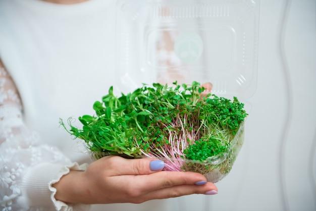Concept d'alimentation végétalienne et saine. mélange de micropousses pour salade.