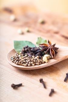 Concept d'aliments à base de plantes exotiques mélange d'épices biologiques