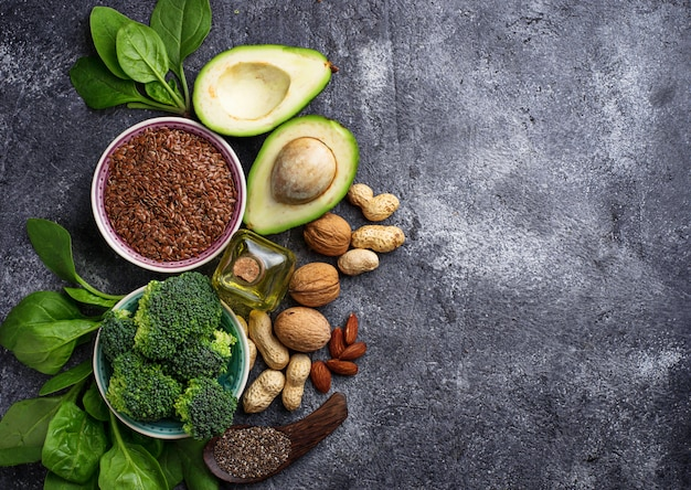 Concept d'aliments sains. sources végétales végétaliennes