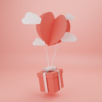 Concept d'amour et de bonne saint-valentin, style de coupe de papier en forme de coeur avec boîte-cadeau flottant sur le mur. rendu 3d, illustration.