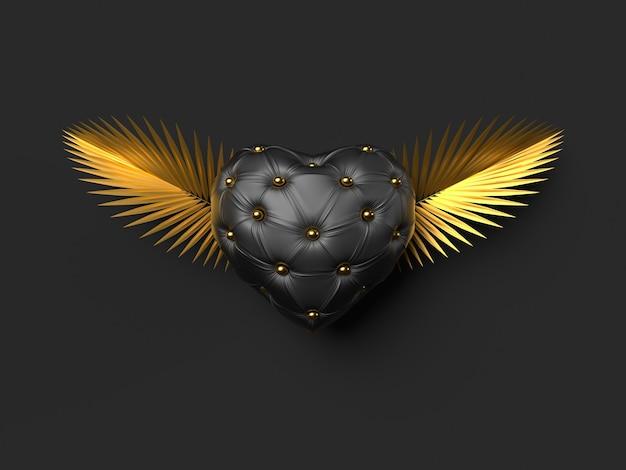 Concept d'amour de coeur avec des ailes