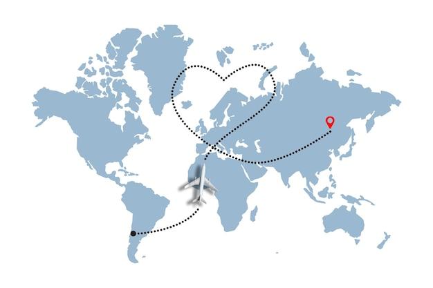 Le concept de l'amour et de la joie de la moitié dans un avion sur la carte du monde.