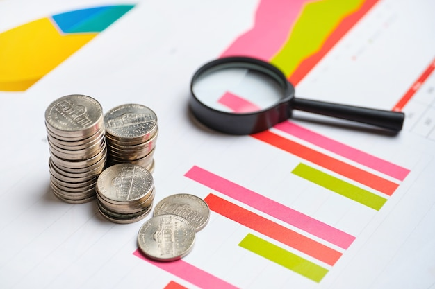 Le concept d'analyse du revenu dans l'entreprise d'une entreprise sur des graphiques avec un rapport.