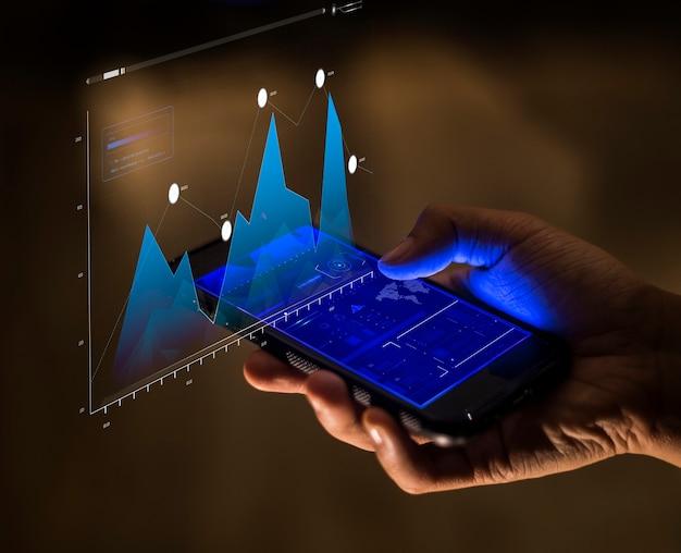 Concept d'analyse de finance et d'entreprise de smartphone
