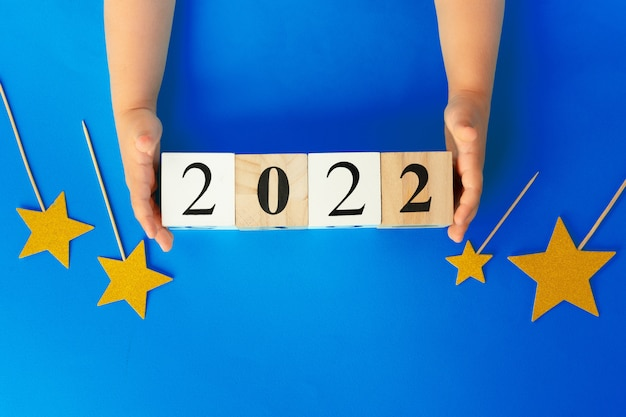 Concept de l'année 2022. numéros 2022 sur bleu