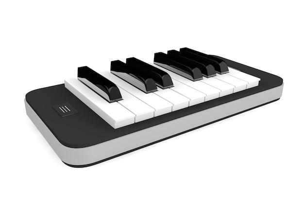 Concept d'application musicale. touches de piano sur téléphone mobile sur fond blanc