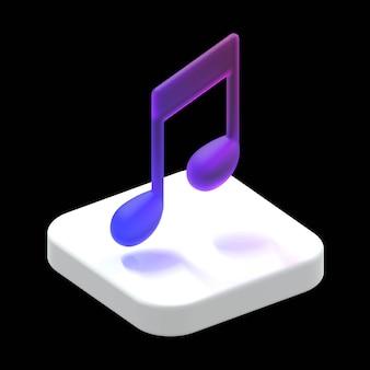 Concept d'application de note de musique illustration de rendu 3d isométrique