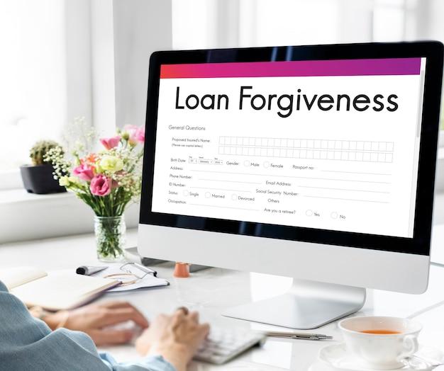 Concept d'application de remplissage de dette de remise de prêt