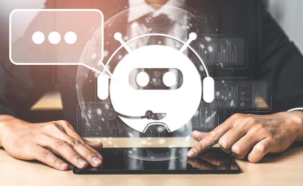 Concept d'application de service client numérique intelligent ai chatbot.