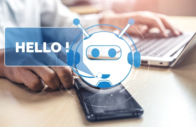 Concept d'application de service client numérique intelligent ai chatbot.
