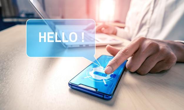 Concept d'application de service client numérique intelligent ai chatbot