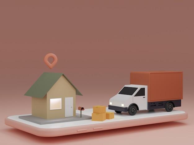 Concept d'application de service de livraison en ligne, camionnette de livraison et téléphone mobile avec broche sur la maison. rendu 3d
