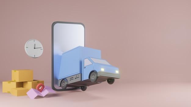 Concept d'application de service de livraison en ligne, camionnette de livraison et téléphone mobile avec carte. 3d