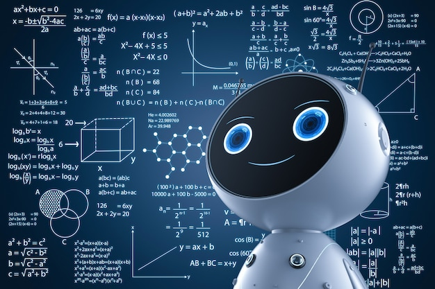 Concept d'apprentissage automatique avec apprentissage de robot de rendu 3d ou résolution de problèmes mathématiques