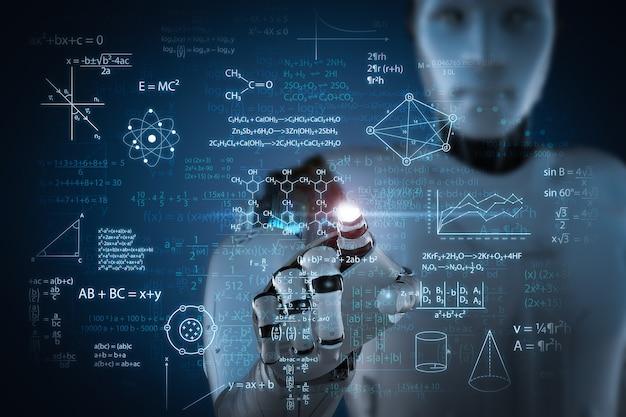 Concept d'apprentissage automatique avec formule mathématique d'apprentissage de robot