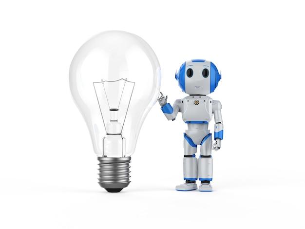 Concept d'apprentissage automatique avec un mini robot de rendu 3d tenant une ampoule