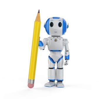 Concept d'apprentissage automatique avec un mini-robot de rendu 3d tenant un crayon